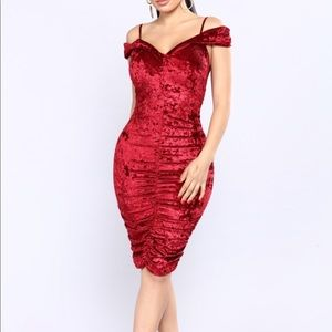 Fashion Nova Dresses - Off shoulder velvet dress